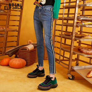 Image 1 - ELFSACK Blue Solid Washed Straight Casual Pencil Jeans Woman 2019 Winter Plaid Patchwork Skinny Office Ladies Basic Daily Pants