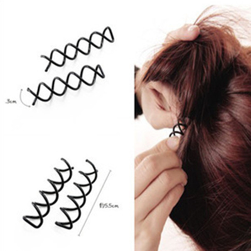 10 Pcs/set Spiral Spin Screw Pin Hair Clip Hairpin Twist Barrette Black Hair Accessories Plate Made Tools Bridal Jewelry