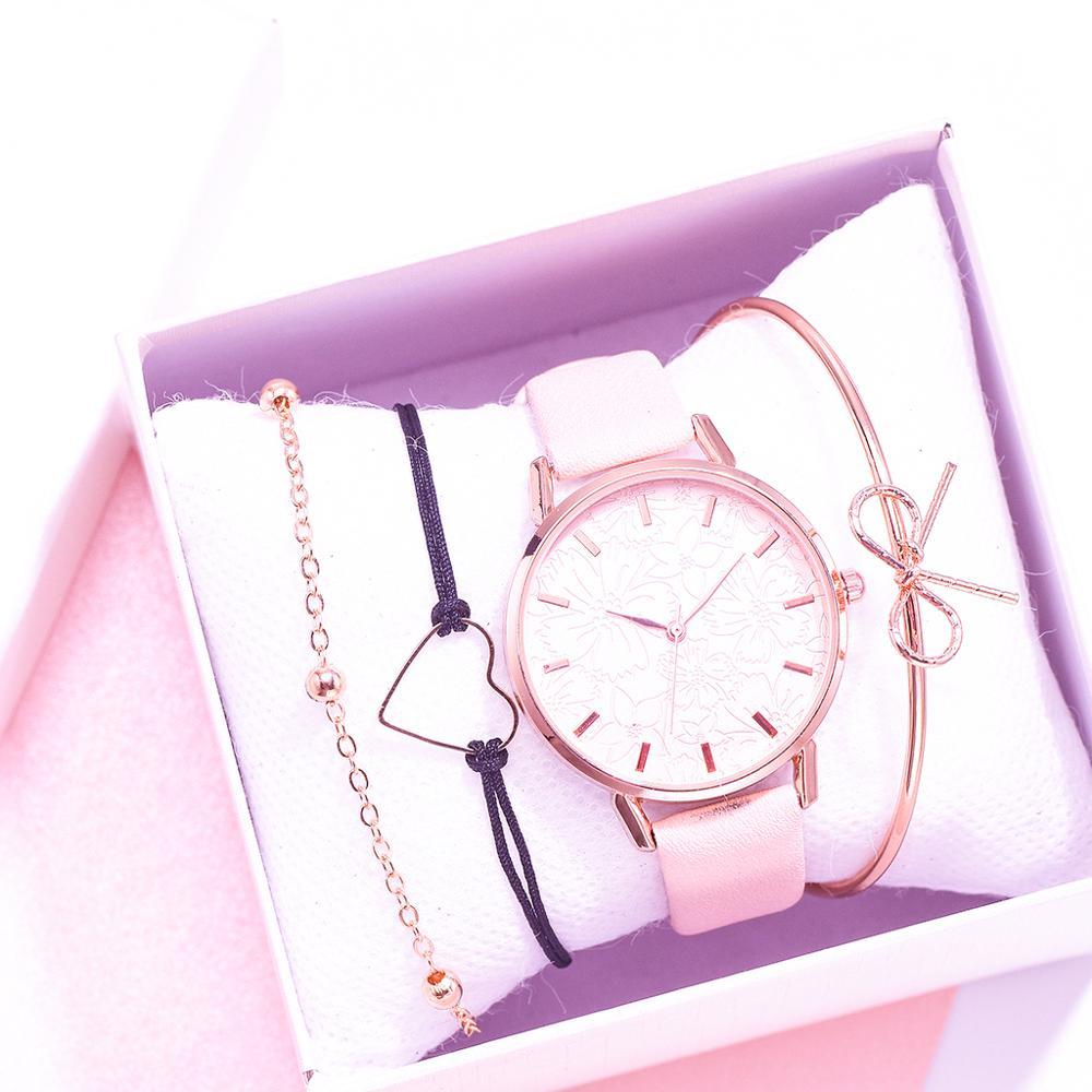 New Women Watches 4pcs Bracelet Set Printing Ladies Bracelet Watch Casual Leather Quartz Wristwatch Clock Gift Relogio Feminino