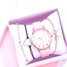 Nuevos relojes para mujer, 4 Uds., conjunto de pulseras estampadas para mujer, reloj de pulsera informal de cuero de cuarzo, reloj de pulsera de regalo, reloj femenino