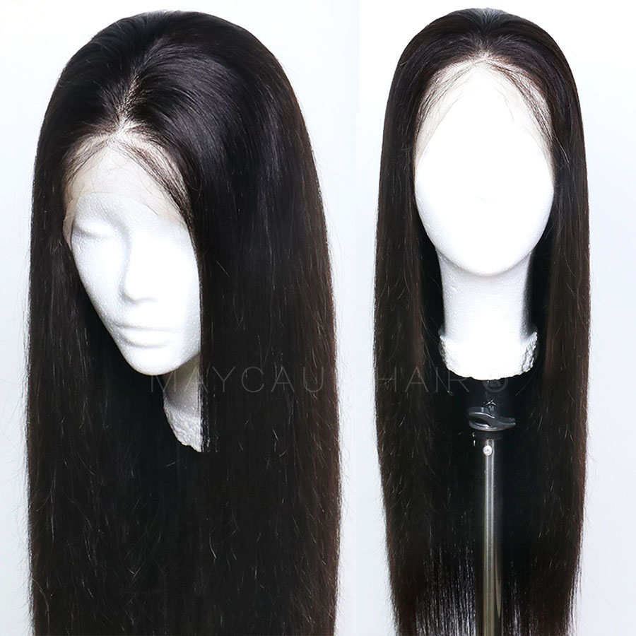 Maycaur Black Color Long Straight Synthetic Lace Front Wigs For Black Women Gluless Wig with Natural Hairline (3)