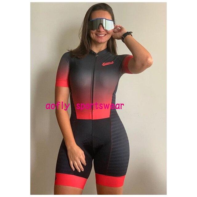 Macaco feminino bicicleta gradiente cor ciclismo feminino xama pro equipe triathlon terno das mulheres camisa de ciclismo skinsuit macacão conjunto gel 2