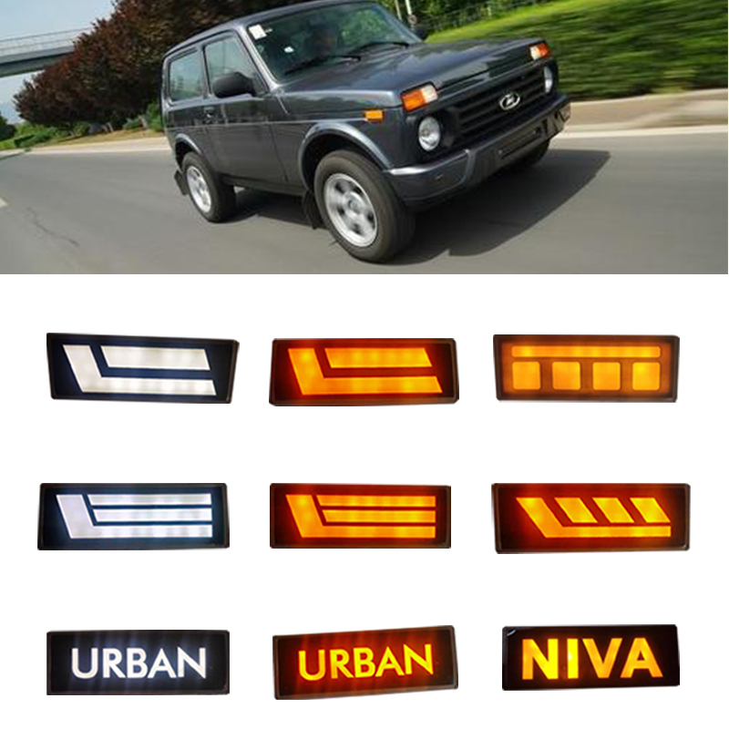 1 Pair LED Front Position Indicator Park Light Side Marker Lamp Amber Waterproof For Lada Niva 4x4 Lada 4x4 Urban Car Front