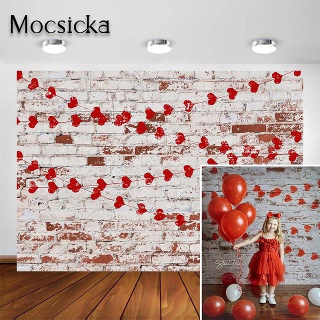 Mocsicka fotografia tło walentynki miłość serce deska drewniana cegła zdjęcie tła Studio na wesela dzieci noworodka