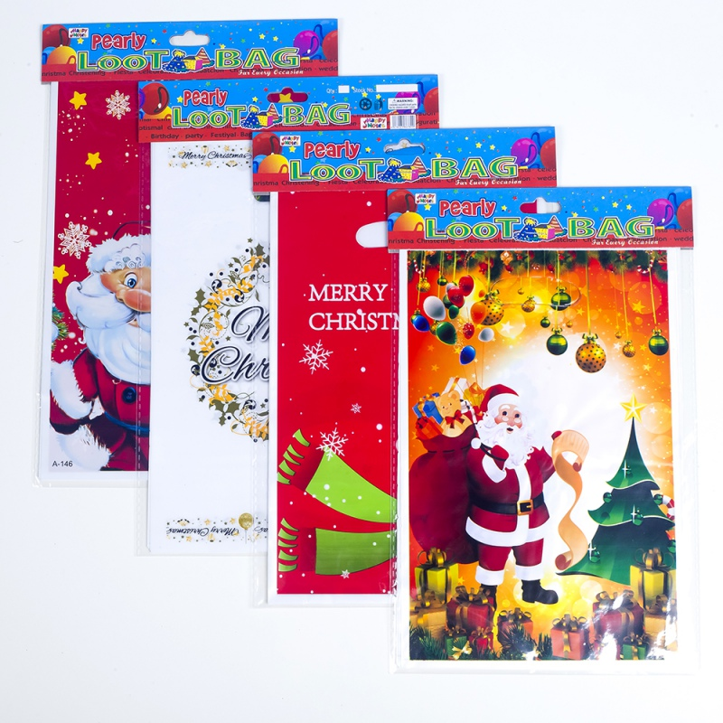 10PCS Disposable Christmas Treat Bags With Handles PVC Candy Cookie Food Storage Pouch Gift Wrapping Bags Party Gifts Decoration in Gift Bags Wrapping Supplies from Home Garden