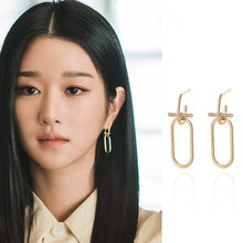 Seo Yea Ji same earrings new drama 2020 new oval slim face earrings with cool and cool temperament