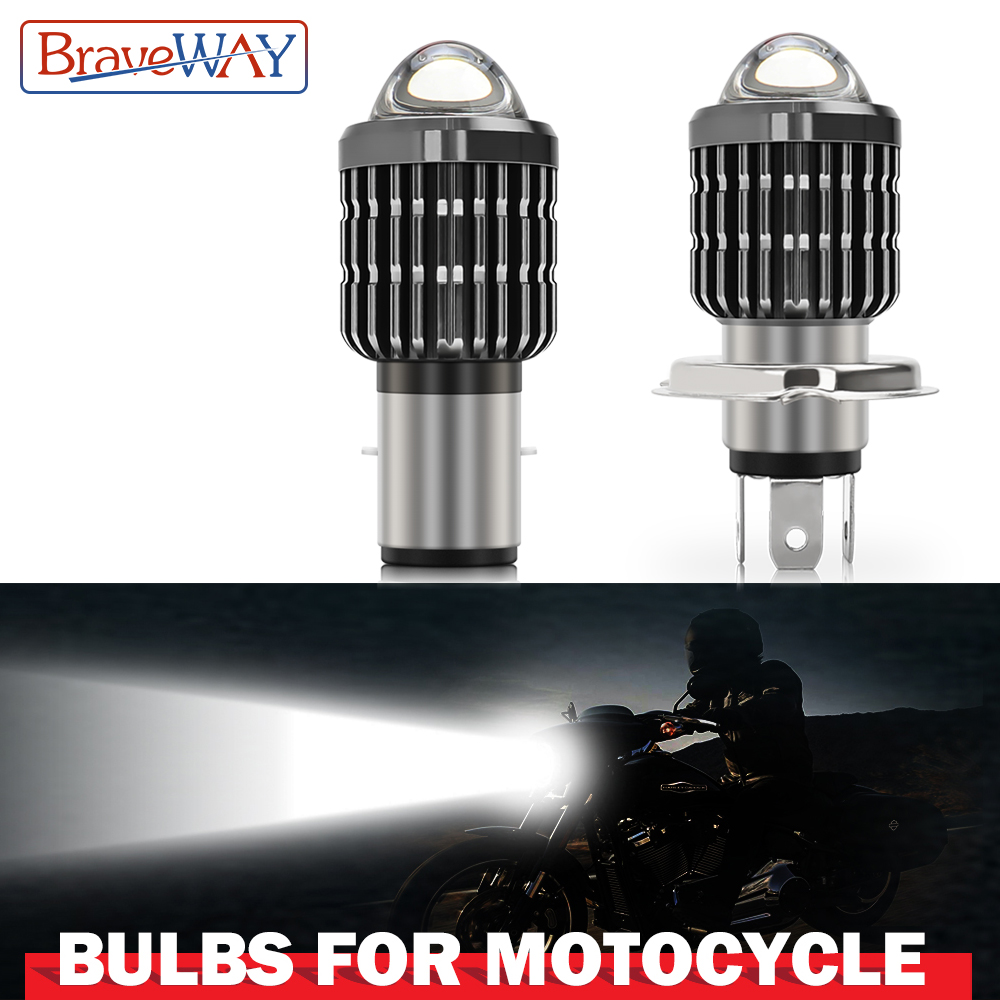 BraveWay 1PCS Motorcycle Headlight LED H4 H6 BA20D Led Bulb Moto 6000LM Hi-Lo Beam Lamp Scooter Accessories 12V 24V llightings