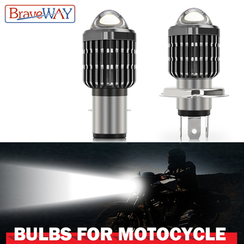 BraveWay 1PCS Motorcycle Headlight LED H4 H6/BA20D Led Bulb Moto 6000LM Hi-Lo Beam Lamp Scooter Accessories 12V 24V llightings 12v 24v relay harness control cable for h4 hi lo hid bulbs wiring controller