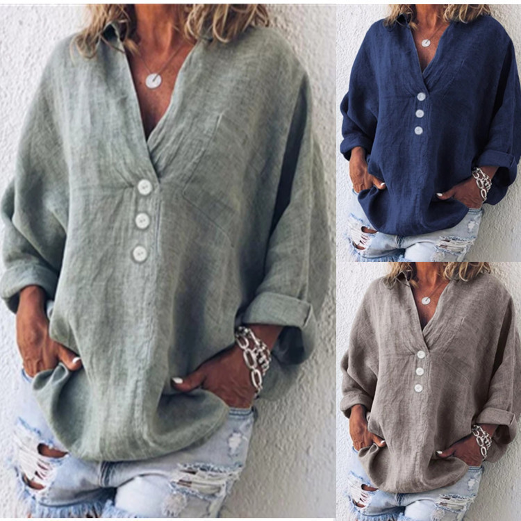 Women Tops and Bloues Summer Cotton Linen Vintage Blouses Loose Plus Size Shirt Khaki V Neck Casual Tops for Women Orange4XL 5XL