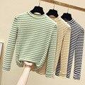 Half-Turtle-Neck Base Shirt 2019 Early Autumn Korean-style Versatile Slim Fit Slimming Women's Black And White Stripes Long-slee