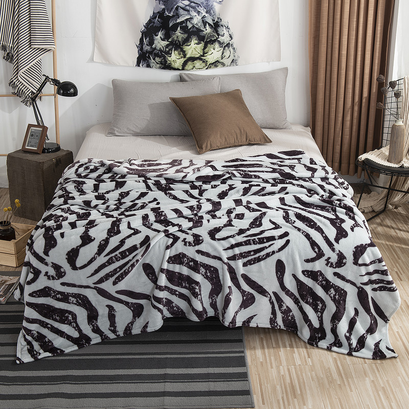 Leopard Zebra Printed Winter Warm Flannel Blankets For Beds Soft Fuzzy Mink Throw Faux Fur Coral Fleece Airplane Travel Blanket