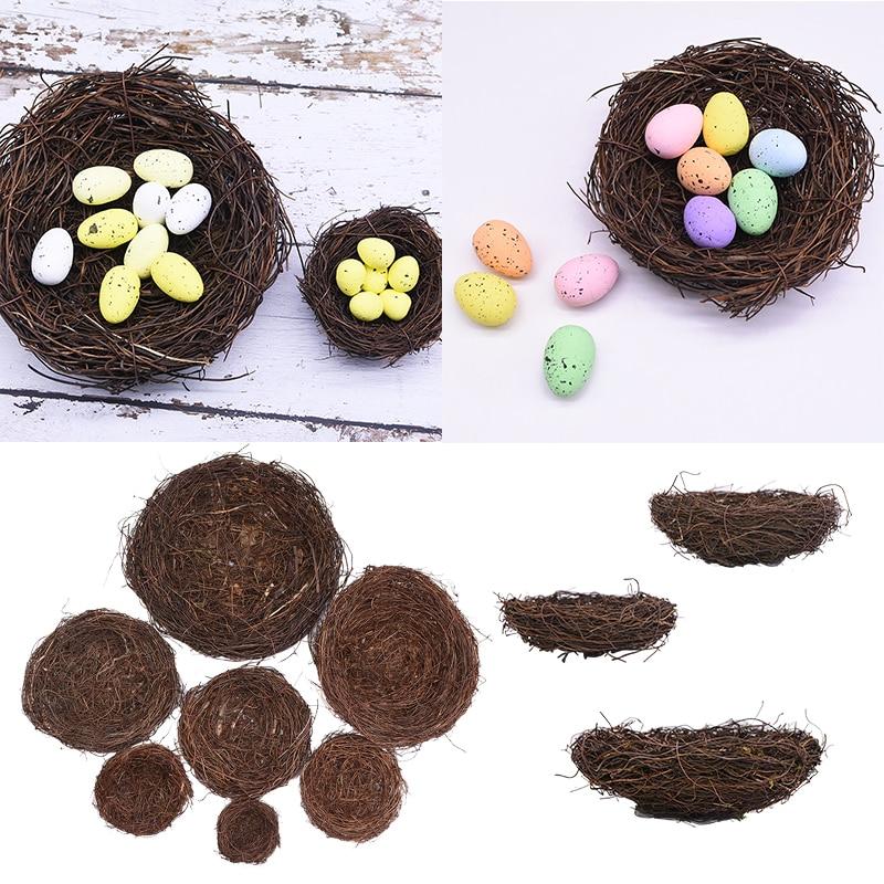 8cm-25cm Rattan Nest Simulation Bird Nest Easter Home Decoration DIY Easter Gift For Kids