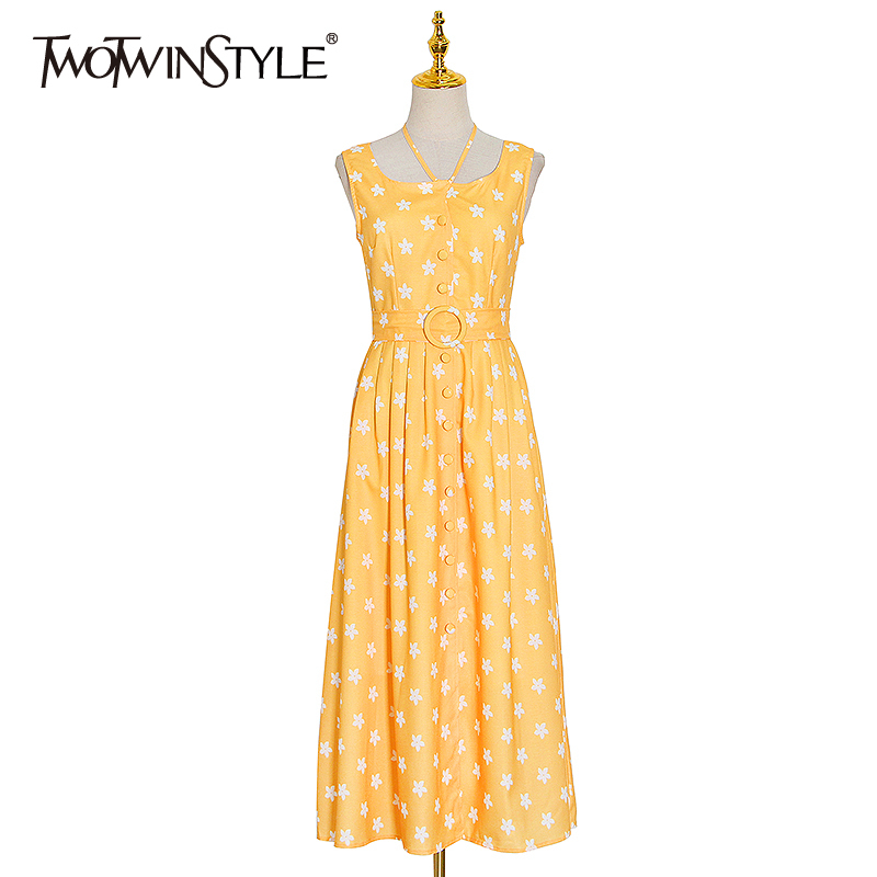 TWOTWINSTYLE Casual Print Summer Dress Women O Neck Sleeveless High Waist With Sashes Hit Color Dresses For Female Clothes Tide