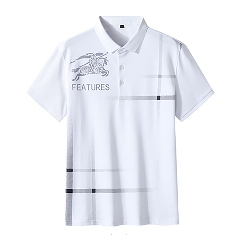 Plus Size Men Golf Shirts Summer Plus Size Men Lapel Short-Sleeved T-Shirt Breathable Fat Guy Golf Casual Top