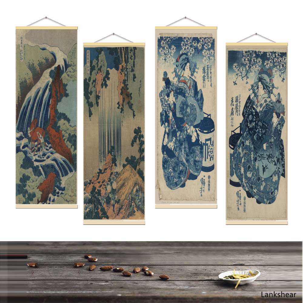 Japanese Ukiyoe Poster For HD Canvas Wall Pictures For Living Room Decoration Painting Wall Art With Solid Wood Hanging Scroll