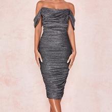 Высококачественное серое платье с открытыми плечами из вискозы, Бандажное платье, вечернее платье