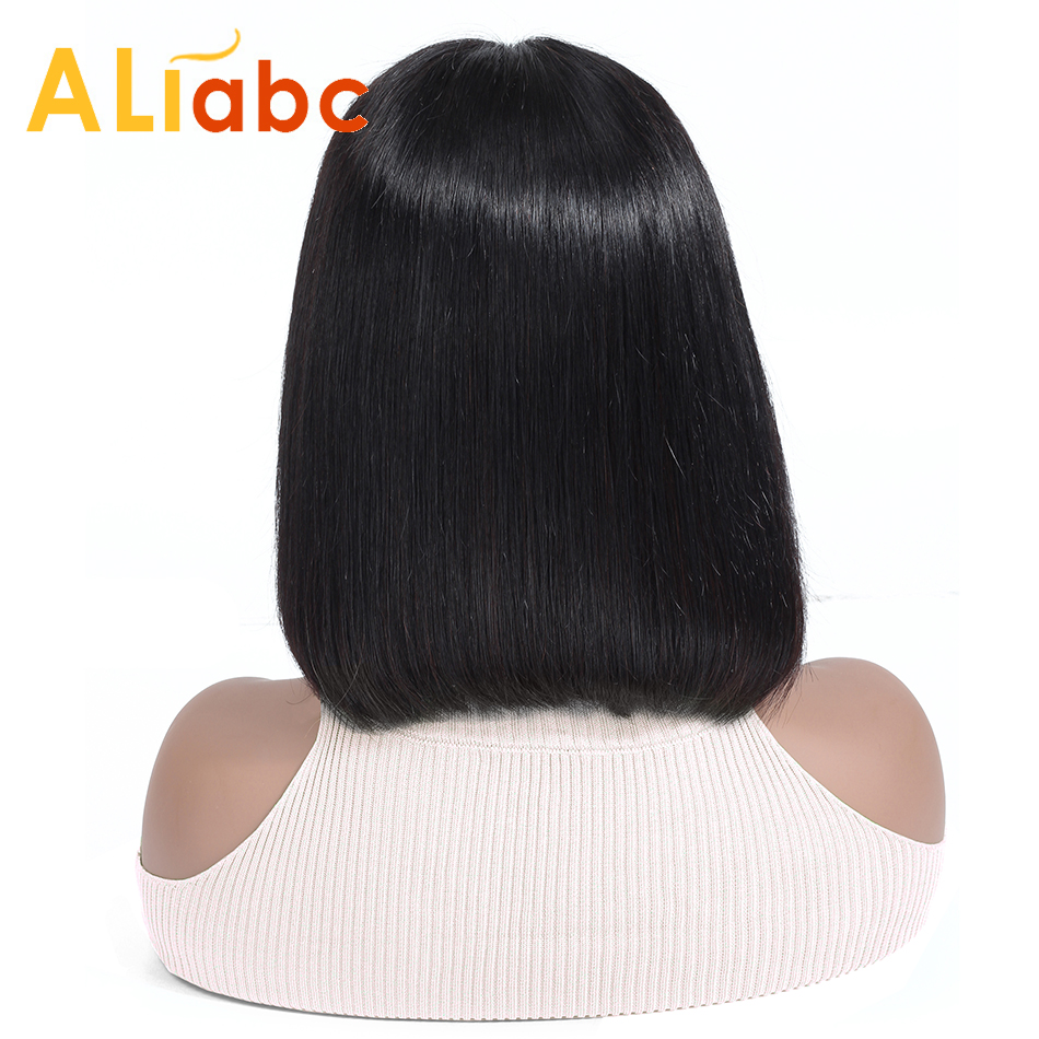 Aliabc 13*4 Hair Bob Wigs Brazilian Lace Front Human Hair Wigs For Black Women Natural Color Remy Straight Short Lace Front Wigs-in Human Hair Lace Wigs from Hair Extensions & Wigs    1