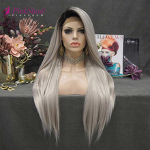 Fiber Wigs Straight Hair Gray Lace-Front Synthetic Women Heat-Resistant PINKSHOW Long
