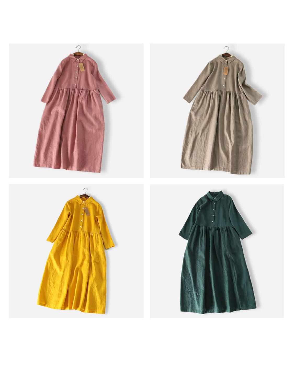 Printemps automne nouveaux arrivants femmes lâche Style japonais Mori fille doux confortable lavé à l'eau 14*14 robes de chemise en lin 4 couleurs - 2