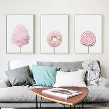Pink Sweet Poster Nordic Cotton Candy Wall Art Fashion Canvas Dessert Print Painting Pictures For Living Room Home Decoration(China)