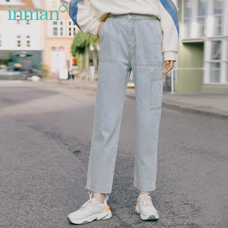 INMAN 2020 Spring New Arrival Literary Personality Pocket Pure Cotton Wash Ankle-length Harem Pant