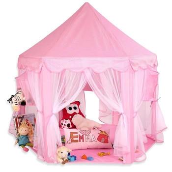 140cm różowy namiot zabaw dla dzieci sześciokątny zamek księżniczki dziewczyna serce bajka domek dla lalek namiot na zewnątrz zabawka tanie i dobre opinie Tkanina CN (pochodzenie) 3 lat Dropshipping