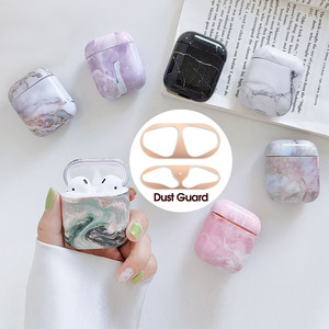 Marble Case+Dust Guard Skin For Airpods 1 2 Hard Protective Wireless Earphone Charging Case Bag Accessories For Apple Air Pods(China)