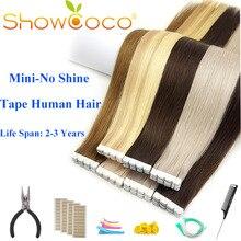ShowCoco ленты в Пряди человеческих волос для наращивания дважды обращается Салон Качество Девы выравнивание кутикулы двусторонняя клейкая Синий PU касета ons