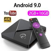 Caixa superior ajustada da caixa 2gb 16gb da tevê do q1 de android 9.0 youtube 2.4g wifi 4k play store caixa superior