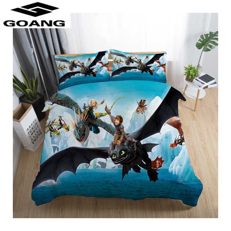 GOANG 3d Bedding Sets Bed Sheet Duvet Cover And Pillowcase Luxury Home Textiles How To Train Your Dragon Kids Bedding