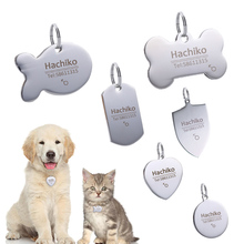 YVYOO Dog collar Stainless steel dog cat tag Free engraving Pet accessories ID name telephone Personalized  B03