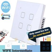 (Не нужен нейтральный) Wi Fi сенсорный светильник енный выключатель света, белое стекло, синий светодиод, умный дом, управление телефоном, 4 клавиши, 2 канала, Alexa Google Home