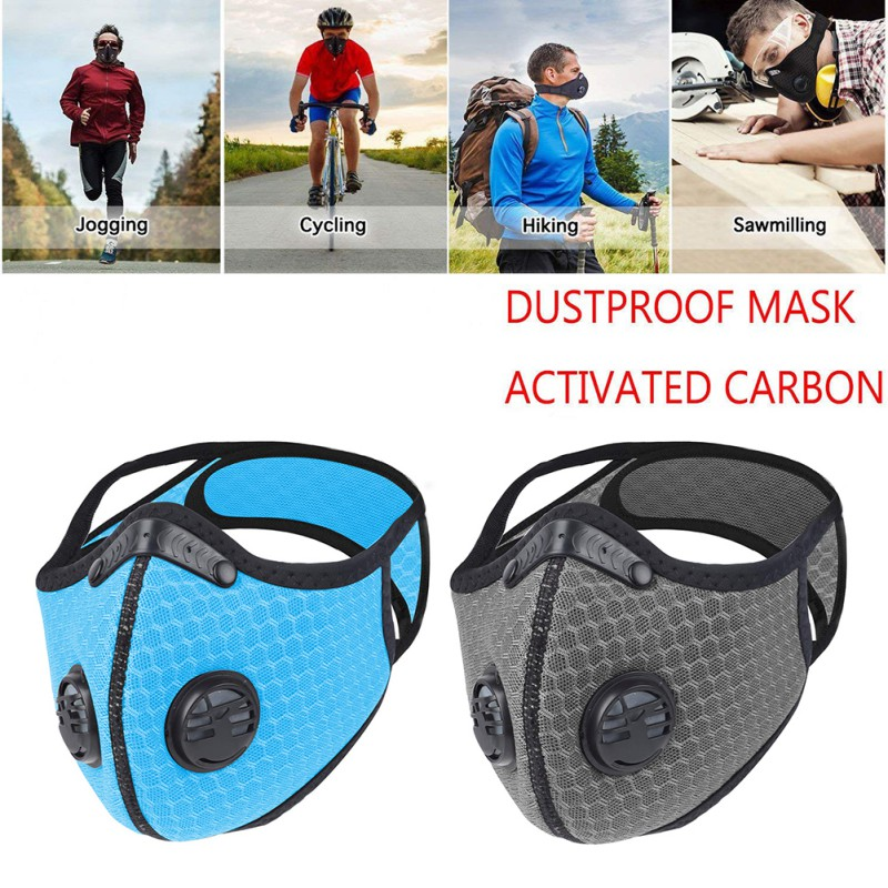 Windproof Dust Mask Sports Mask Activated Carbon Filter Exhaust Pipe Gas Hypoallergenic for Running Motorcycle Riding|Motorcycle Face Mask| |  -