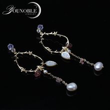Trendy Real Natural Fresh Water Baroque Pearl Handmade Tree Drop Earrings For Women Custom Party Earrings Jewelry