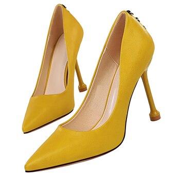 2020 New Women 10.5cm High Heels Pumps Pointed Toe Luxury Elegant Lady Shoes High Heels Scarpins Yellow Prom Jeans Dress Pumps