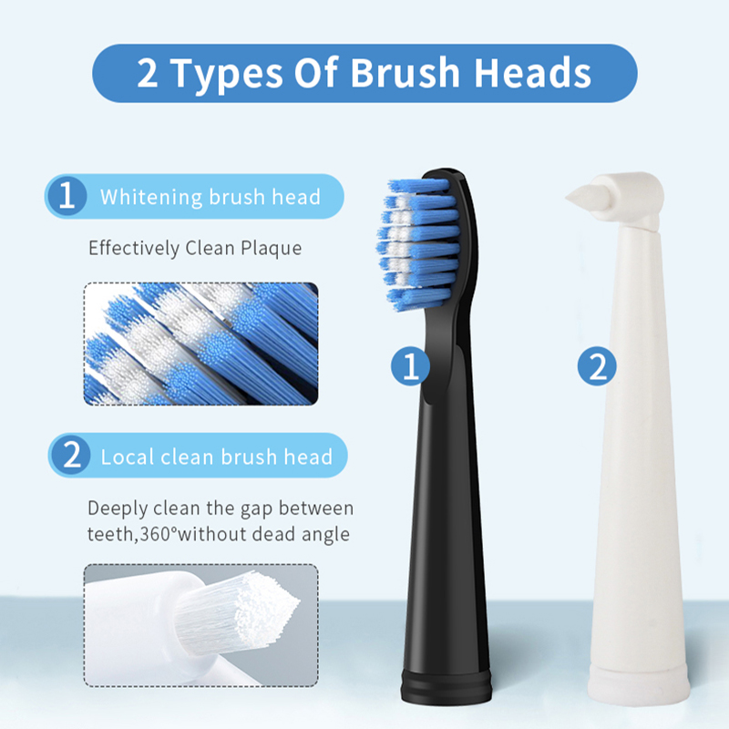 Seago Sonic Electric Toothbrush SG575 IPX7 Waterproof 5 Pcs Soft Bristle Brush Heads 1 Year Long Durability Time Rechargeable