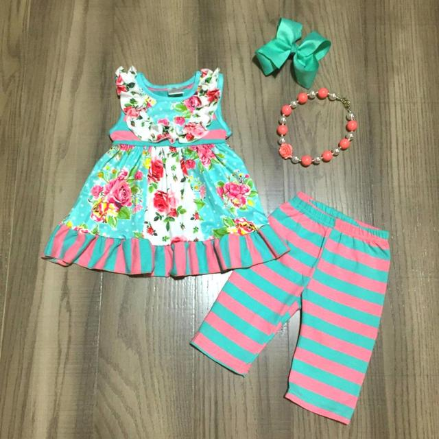 new spring/summer coral mint top floral flower stripe capris baby girls clothes cotton ruffles boutique set match accessories