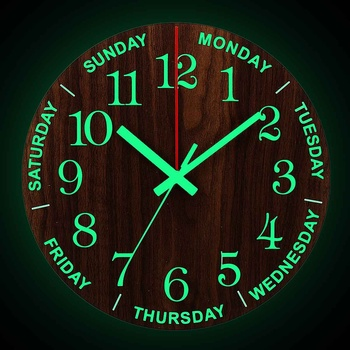 12 Inch Luminous Wall Clock Wood Silent light in dark night Nordic Fashion Wall Clock Non Ticking Clock With Night Light