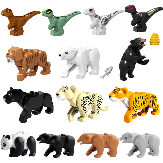 Figures Animals Flying Horse Friends Figure Assemble Tiger Leopard Bear Dinosaur Model Kids Toys Figurine Horse Building Blocks