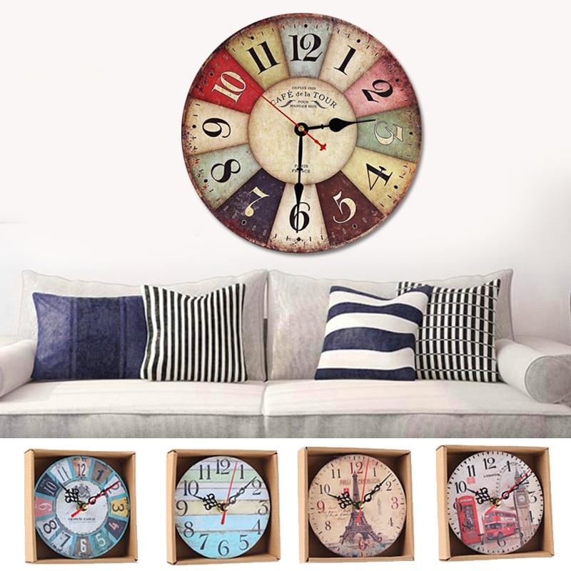 Mute Hanging Clock Clocks Wall Clocks Fashion Wooden Wall Clocks Uk Retro Retro Antique Decoration Ornaments Living Room