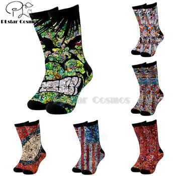 Plstar Cosmos comic marvel Hulk Thor Captain America dc cotton socks Cartoon 3d Print High Socks Men Women high quality