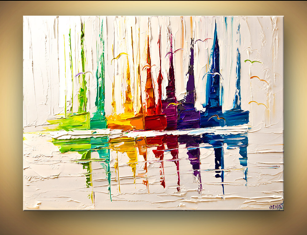 High Quality Handmade Painting Art Abstract <font><b>Boat</b></font> Paintings Palette <font><b>Knife</b></font> Texture Painting Contemporary Oil Painting Canvas Paint image
