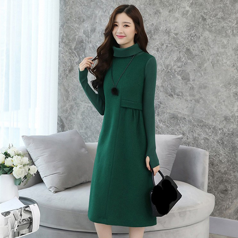 Ladies Winter Wool Dresses 2019 Autumn Casual Long Turtleneck Cashmere Knitted Sweater Dress Women Elegant Woolen Dress Plus Siz