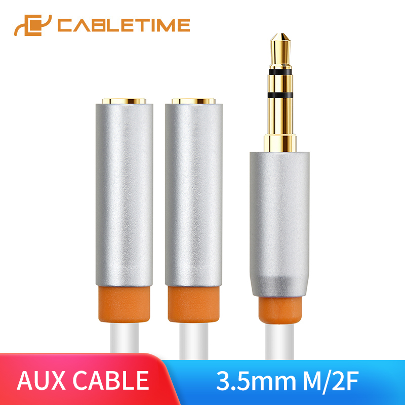 CABLETIME Headphone Splitter 3.5mm Jack Audio Cable  Male to 2 Female 3.5mm Adapter Aux Cable for iPhone Samsung MP3 Player C101