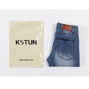 Image 5 - Pantalones vaqueros para Hombre 2020 de verano ultradelgados informales rectos ajustados elásticos azul claro suave Caballero pantalones vaqueros Hombre