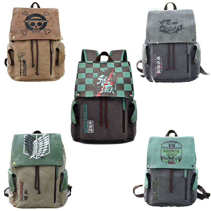 ONE PIECE Demon Slayer Kimetsu No Yaiba Anime Canvas Backpack Schoolbag Attack On Titan Cosplay Animation Accessories