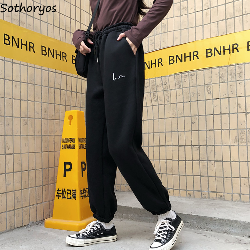 Pants Women Plus Size Black Streetwear Embroidery 5 Color High Waist Trousers Womens Thicker Korean Style Keep Warm Drawstring