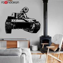 Modern War Theme Army Tank Military Wall Sticker Vinyl Home Decor Boys Room Game Decals Removable Murals Inerior Wallpaper 3632