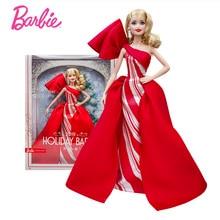 цена Original Barbie Doll Signature Fashion Street Style Anniversary Holiday Barbie Toys Red Dress Clothes dolls for Girl Gift Boneca онлайн в 2017 году