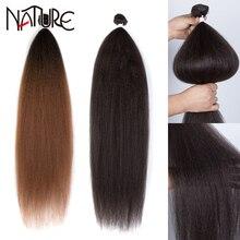 Nature Hair Kinky Straight Hair Synthetic 36 inch Yaki Straight Hair Bundles Blonde Hair